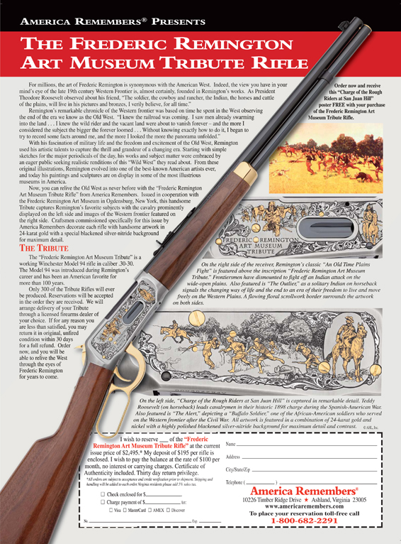 Frederic Remington Art Museum Tribute Rifle